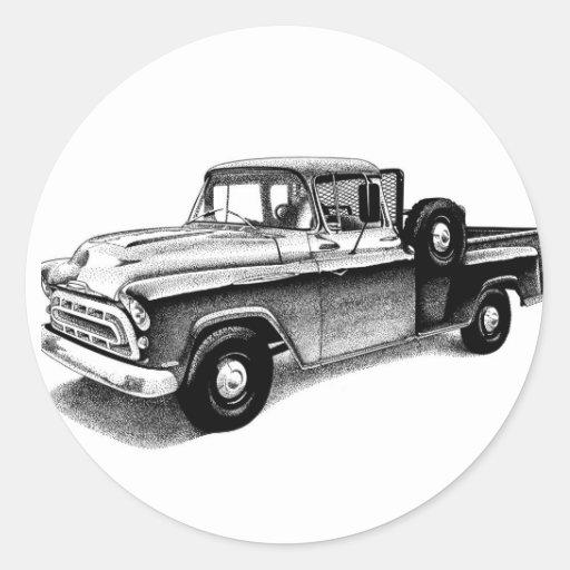 Caminhão do vintage adesivo redondo