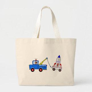 Caminhão e motorista de reboque dos desenhos sacola tote jumbo