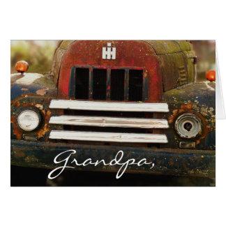 Caminhão internacional antigo da ceifeira cartão comemorativo