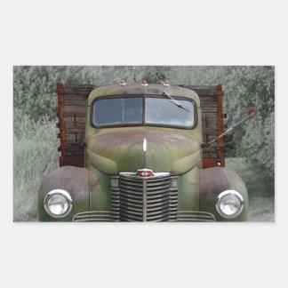 Caminhão internacional verde velho adesivo retangular
