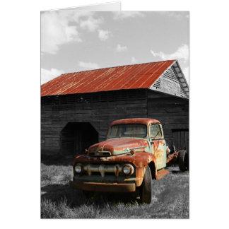 Caminhão velho b/w cartão
