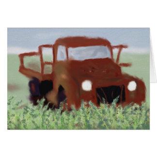 Caminhão velho oxidado cartão comemorativo