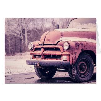 Caminhão velho oxidado - cartão vazio
