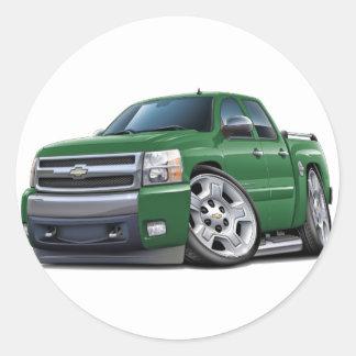 Caminhão verde de Chevy Silverado Dualcab Adesivos Redondos