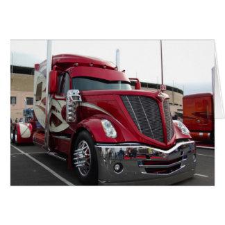 Caminhão vermelho cartão comemorativo