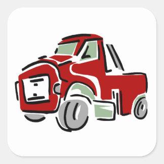Caminhão vermelho grande - etiquetas adesivo quadrado