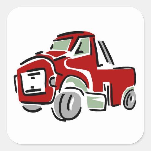 Caminhão vermelho grande - etiquetas adesivos