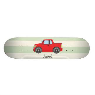 Caminhão vermelho; Listras verdes Pastel Shape De Skate 20,6cm