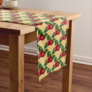 Caminho De Mesa Grande Azevinho do vermelho do Corredor-Natal da mesa