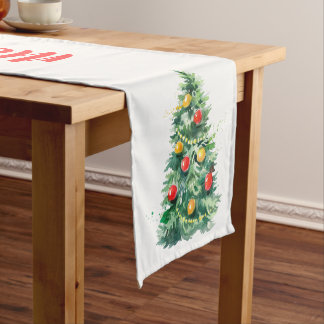 Caminho De Mesa Médio Árvore da tipografia & de Natal do Feliz Natal