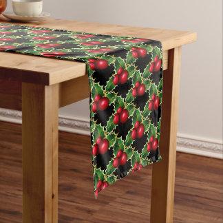 Caminho De Mesa Médio Azevinho do vermelho do Corredor-Natal da mesa