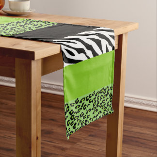 Caminho De Mesa Médio Impressão animal, zebra, leopardo manchado - verde