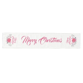 Caminho De Mesa Médio Tipografia do Feliz Natal & buquê floral