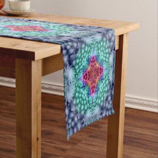 Caminho De Mesa Pequeno Corredor colorido da mesa do caleidoscópio azul