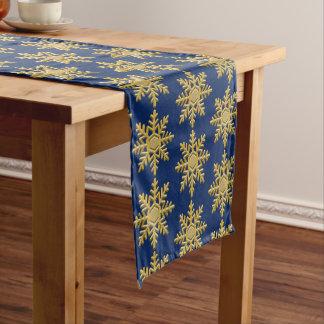 Caminho De Mesa Pequeno Floco de neve Textured ouro no corredor da mesa