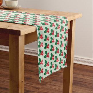 Caminho De Mesa Pequeno O verde vermelho das bagas do Natal deixa o teste