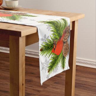 Caminho De Mesa Pequeno Pinecones e corredor cardinal da mesa do Natal
