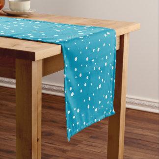 Caminho De Mesa Pequeno Pontos brancos da neve no corredor azul da mesa do