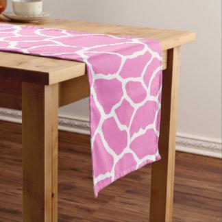 Caminho De Mesa Pequeno Teste padrão branco cor-de-rosa da pele do girafa
