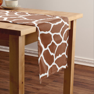 Caminho De Mesa Pequeno Teste padrão branco da pele do girafa de Brown