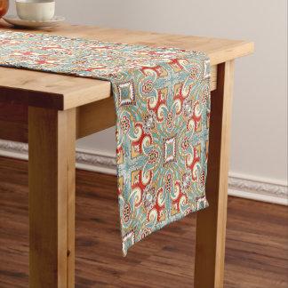 Caminho De Mesa Pequeno Teste padrão de mosaico floral da cerceta vermelha