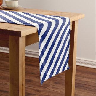 Caminho De Mesa Pequeno Teste padrão diagonal do azul marinho e o branco