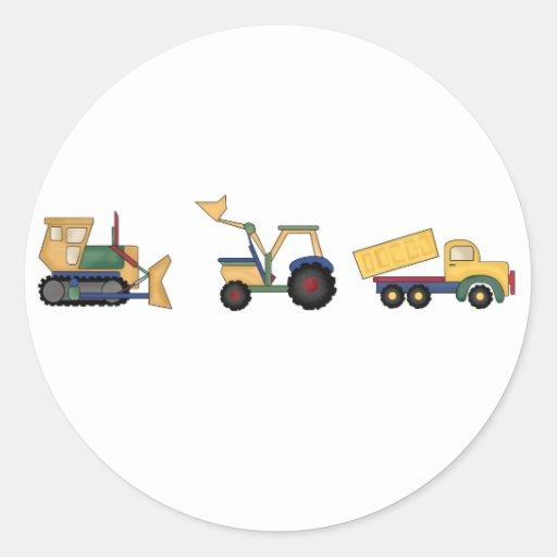 Caminhões da construção adesivo em formato redondo