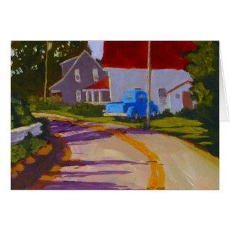 Camionete & estrada velhos no cartão de Maine