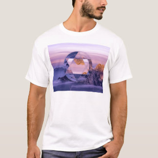 Camisa abstrata da paisagem da montanha