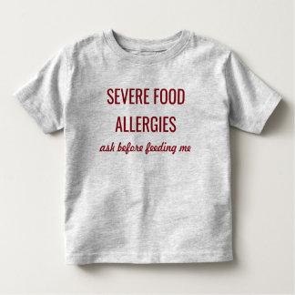 Camisa alerta médica severa das alergias de comida