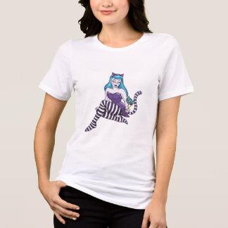 Camisa Alice da menina do pinup do gato de