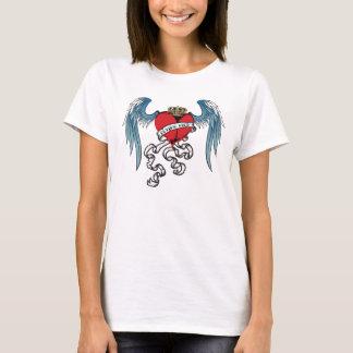 Camisa alta de voo do tatuagem do coração