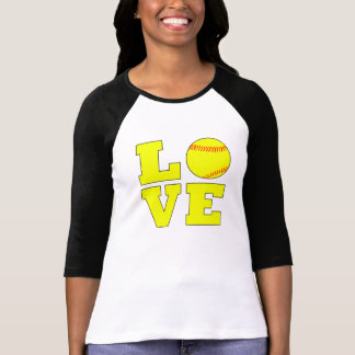 Camisa amarela do softball de Fastpitch do amor do