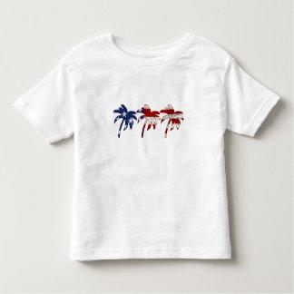 Camisa azul branca vermelha da palmeira tshirts