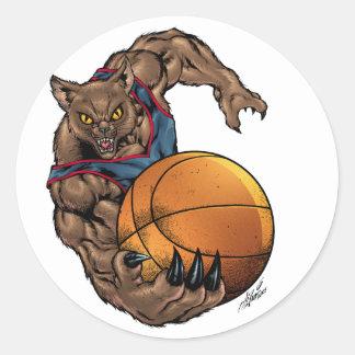 Camisa azul da arte do basquetebol dos Wildcats l Adesivos Redondos