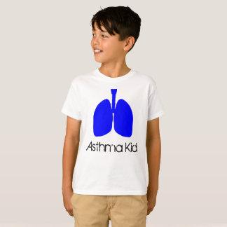 Camisa azul do miúdo da asma dos pulmões