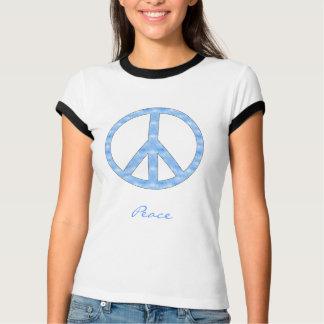 Camisa azul do sinal de paz