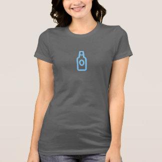 Camisa azul simples do ícone da garrafa de cerveja