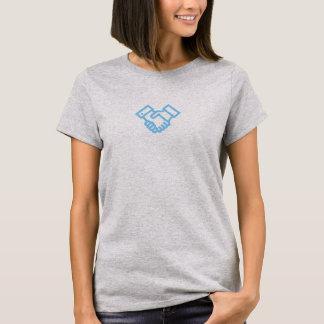 Camisa azul simples do ícone do aperto de mão
