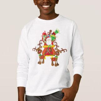 Camisa bonita de Papai Noel e de luva das renas  