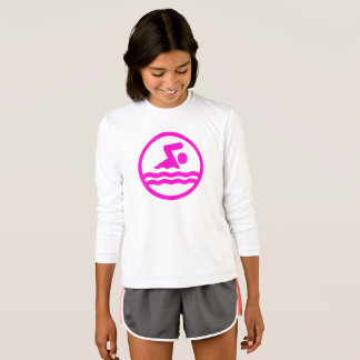 Camisa bonito da Longo-Luva da natação do rosa das