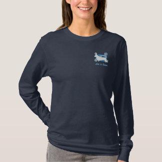 Camisa bordada Corgi de Galês do casaco de lã do