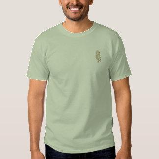 Camisa bordada Kokopelli verde de pedra