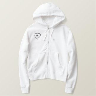 Camisa bordada monograma do coração da letra V Moletom Com Capuz E Ziper Bordado Feminino