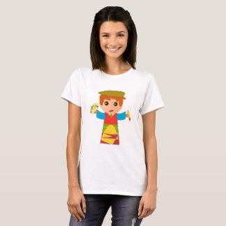 Camisa branca engraçada do pintor dos desenhos