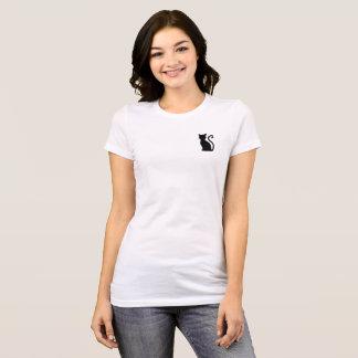Camisa branca lustrosa bonito do gato preto T do