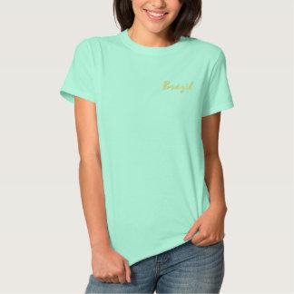 Camisa brasileira camiseta polo bordada feminina