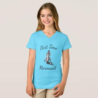 Camisa brilhante do azul T da sereia de meio