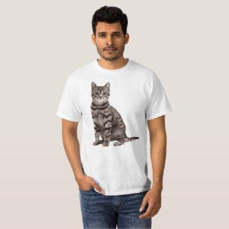 Camisa cinzenta do gato de gato malhado