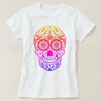 Camisa colorida do crânio do açúcar dos doces de